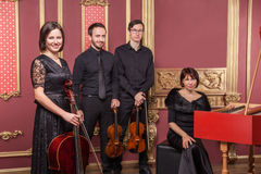 Classical music quartet posing after the concert. Classical music quartet posing after the concert with their instruments in hall and looking at camera. Studio Royalty Free Stock Image