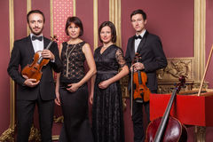 Classical music quartet posing after the concert. Classical music quartet posing after the concert with their instruments in hall and looking at camera. Studio Stock Photo