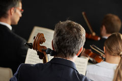 Classical music. Symphony, cellist on foreground playing at the concert royalty free stock images