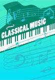 Classical Music Vector Concept. Classical music concept. Grand piano keys, musical key end notes on staff vector illustrations. For symphonic orchestra live Royalty Free Stock Photos