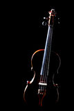 Classical music violin isolated. On black. Orchestral musical instruments Royalty Free Stock Photo