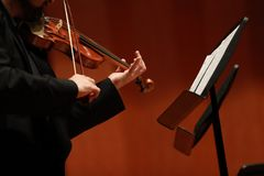 Classical music. Violinists in concert. Stringed, violinist.Closeup of musician playing the violin during a symphony. Classical music. Violinists in concert Stock Photos