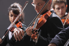 Classical music. Violinists in concert royalty free stock photo