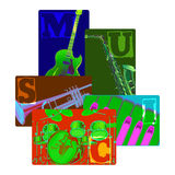 Classical musical instruments on color Stock Images