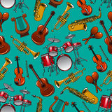 Classical musical instruments seamless pattern Stock Photos