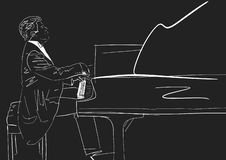 Piano player. White silhouette on black background. royalty free illustration