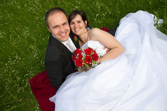 A classical newly wed couple portrait Stock Photography