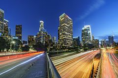 Classical nightscape of Los Angeles downtown Stock Photography