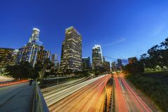 Classical nightscape of Los Angeles downtown Royalty Free Stock Image