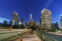 Classical nightscape of Los Angeles downtown Stock Photo