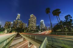 Classical nightscape of Los Angeles downtown Royalty Free Stock Photos