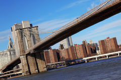 Classical NY - view to Brooklyn bridge Royalty Free Stock Photography
