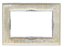 Classical old-fashion retro silver frame. Isolated on white Stock Image