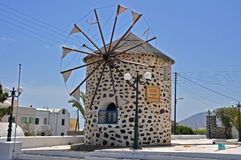 Classical old windmill on greek island santorini Stock Photo
