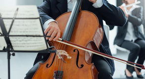 Classical orchestra performance, string section Royalty Free Stock Image