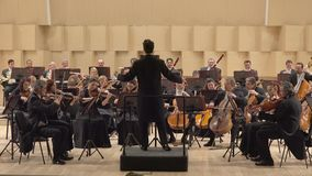 Classical orchestra playing on symphony stage, noble job