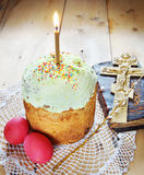 Classical Orthodox Christian Easter still life with eggs and cake Stock Photography
