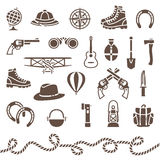 Classical outdoor equipment for adventure royalty free illustration