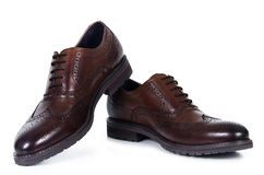 Classical pair of brown male shoes Royalty Free Stock Image