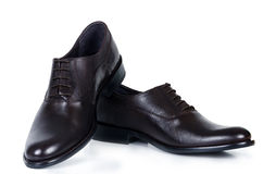 Classical pair of brown male shoes Stock Photo