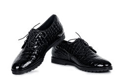 Classical pair of patent black male shoes Stock Images