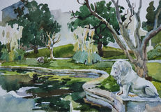 Classical park with pond and lion sculpture. In Beshiktash district, Istanbul, original watercolor art Stock Photos