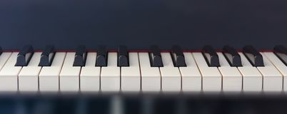 Piano keyboard, front view, copy space Royalty Free Stock Photo