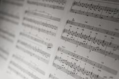 Classical piano notes close-up detail,. Classical piano notes close-up detail royalty free stock images