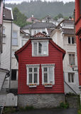 Classical red norwegian wooden house, scandinavia Stock Photos