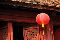 Classical red paper Chinese lantern in sacred shrine in Hanoi Vi Royalty Free Stock Photo