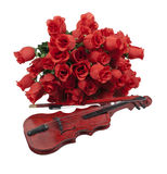 Classical Red Roses and Violin Royalty Free Stock Image