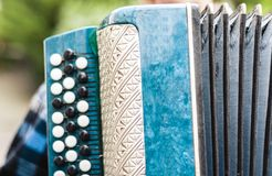 Classical retro bayan accordion, musical instrument.  stock image