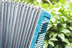 Classical retro bayan accordion, musical instrument.  royalty free stock images