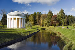 Classical rotunda in autumn park Royalty Free Stock Image