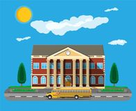 Classical school building and school bus. vector illustration