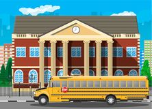 Classical school building and cityscape. stock illustration