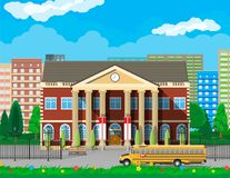 Classical school building and cityscape. Brick facade with clocks. Public educational institution and bus. College or university organization. Tree, clouds vector illustration