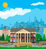 Classical school building and cityscape. royalty free illustration