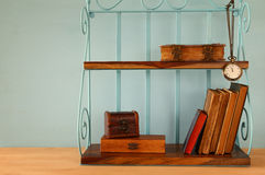 Classical shelf with vintage male objects.  Stock Photo
