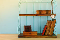 Classical shelf with vintage male objects Stock Photography