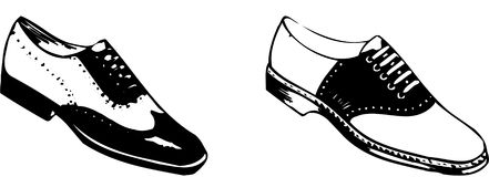 Classical Shoes. Classical pair of two different mens shoes as commenly worn in the 50s Stock Photography