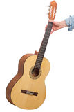 Classical six-string guitar in hand Stock Images