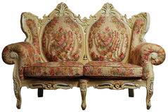 Classical sofa chair w/ clipping path. Classical antique sofa chair with floral pattern, isolated with clipping path Royalty Free Stock Photography