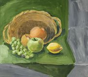 Classical still life with fruits. Gouache painting Stock Photos