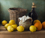 Classical still life with lemons and oranges Royalty Free Stock Photography