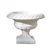 Classical Stone Urn. White classical carved concrete urn isolated on white Royalty Free Stock Photos