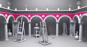 Classical studio 01. 3d render of classical art studio royalty free illustration