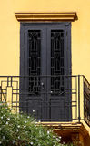 Classical Style Details : Doorway. Black Iron Doorway and Porch in Classical Style with yellow wall (Beirut, Lebanon Royalty Free Stock Images