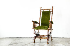 Classical style rocking chair with green wool on white backgroun Royalty Free Stock Photography