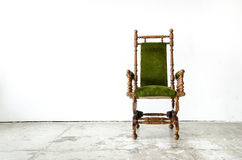 Classical style rocking chair with green wool on white backgroun Stock Photos